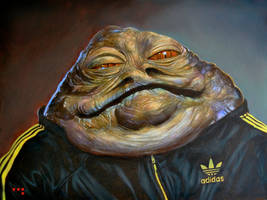 Jabba in Adidas (Version II) 24 x 18 inches Oil on