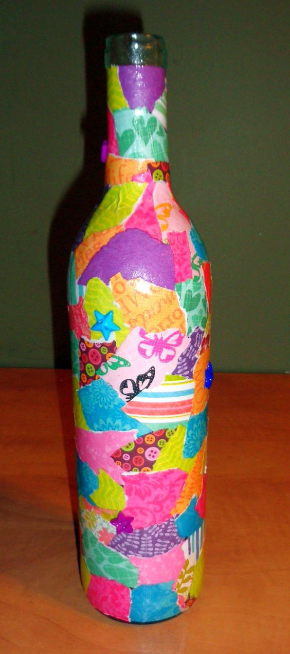 Decoupage Bottle by merwolves