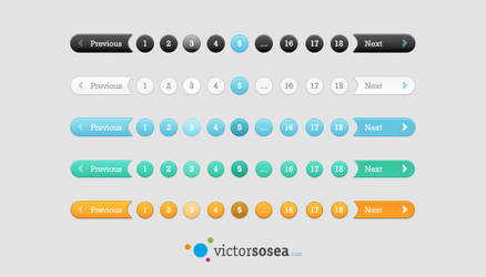 5 Pagination Styles Free PSD by victorsosea