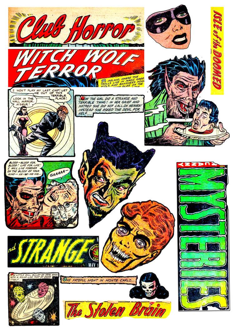 horror comic collage digital sheet download vintage old retro