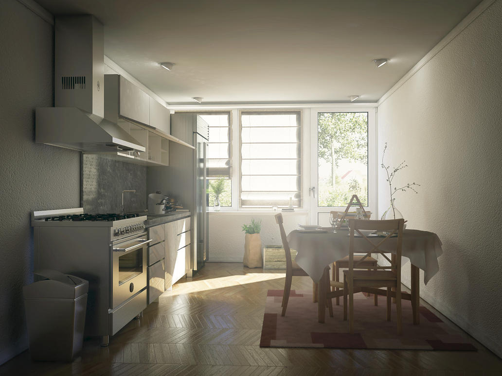 Kitchen Render Cinema 4d Vray Interior By Externible On