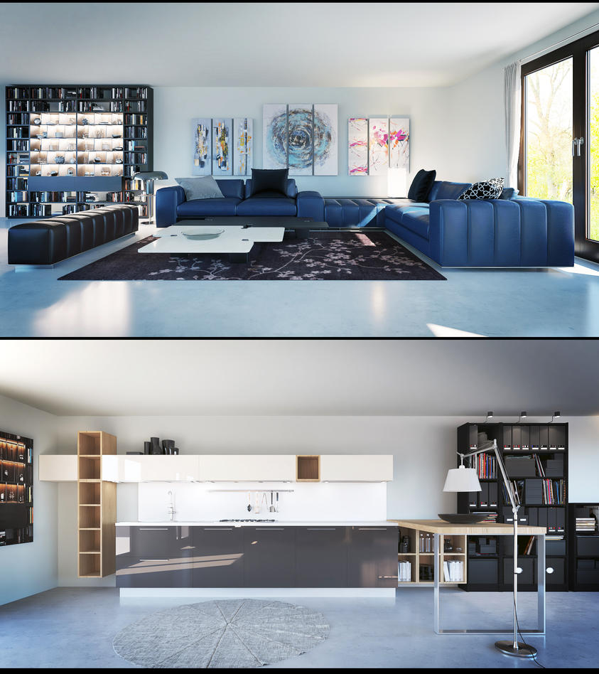 Living Room and Kitchen Vray Render by externible on DeviantArt