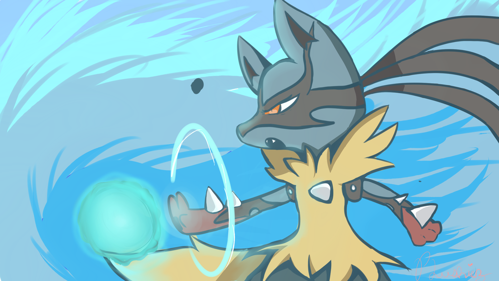 Mega Lucario Use Aura Sphere By Plushiezz