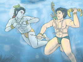 Hare Krishna and Arjuna - Summer vacation by VachalenXEON