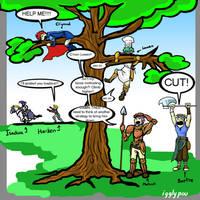 Marcus vs the Tree round 2 by igglypou