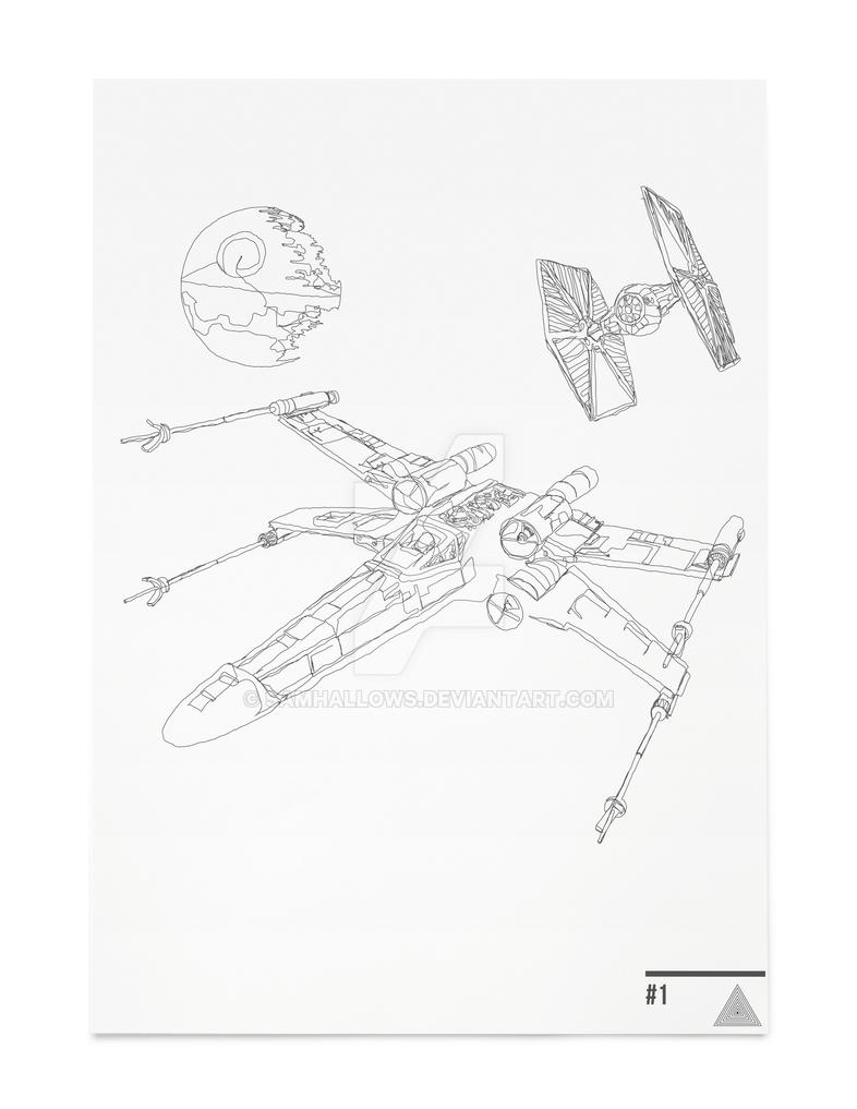 X Wing Line Drawing : X wing scene star wars continuousline illustration by