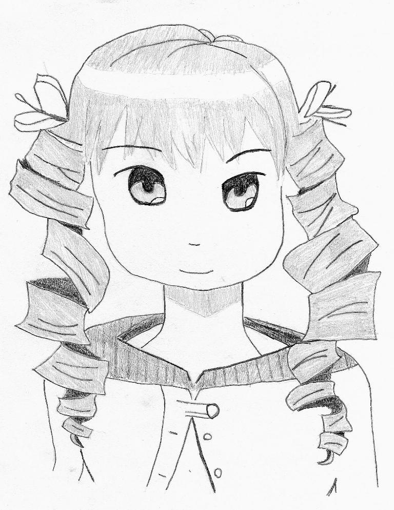 Drawing of a Little Girl With Curly Hair Anime Girl With Curly Hair by