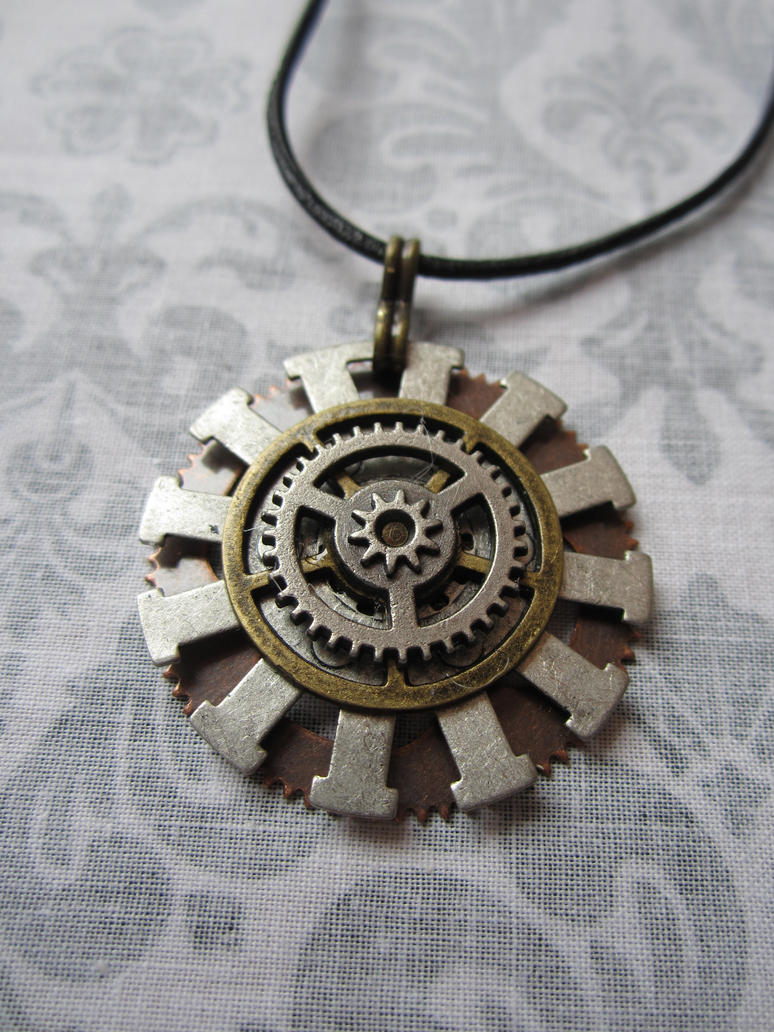 medium pendant gear gold necklace products k carrie rose