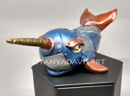Steampunk Blue Narwhal by tanyadavisart