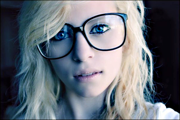 Young Nerd Girl Ponytails Large Glasses Stock Photo 73642849 ...
