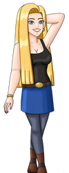 Android 18 With Long Hair 2021 by PerryWhite