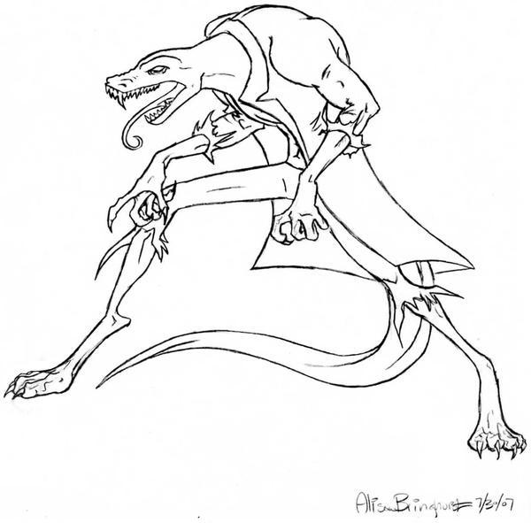 Line Drawing Lizard : Lizard man by blabberabbit on deviantart
