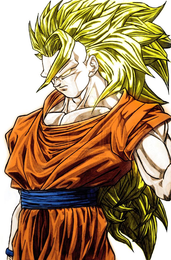 Goku super saiyan 3 angry badass colored by dyronl on - Goku super sayan 5 ...