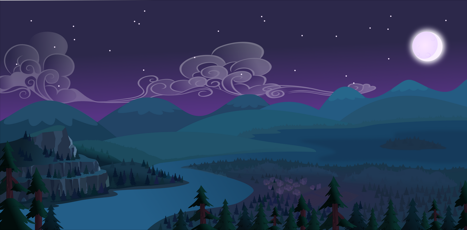Sky+mountain+night Scene
