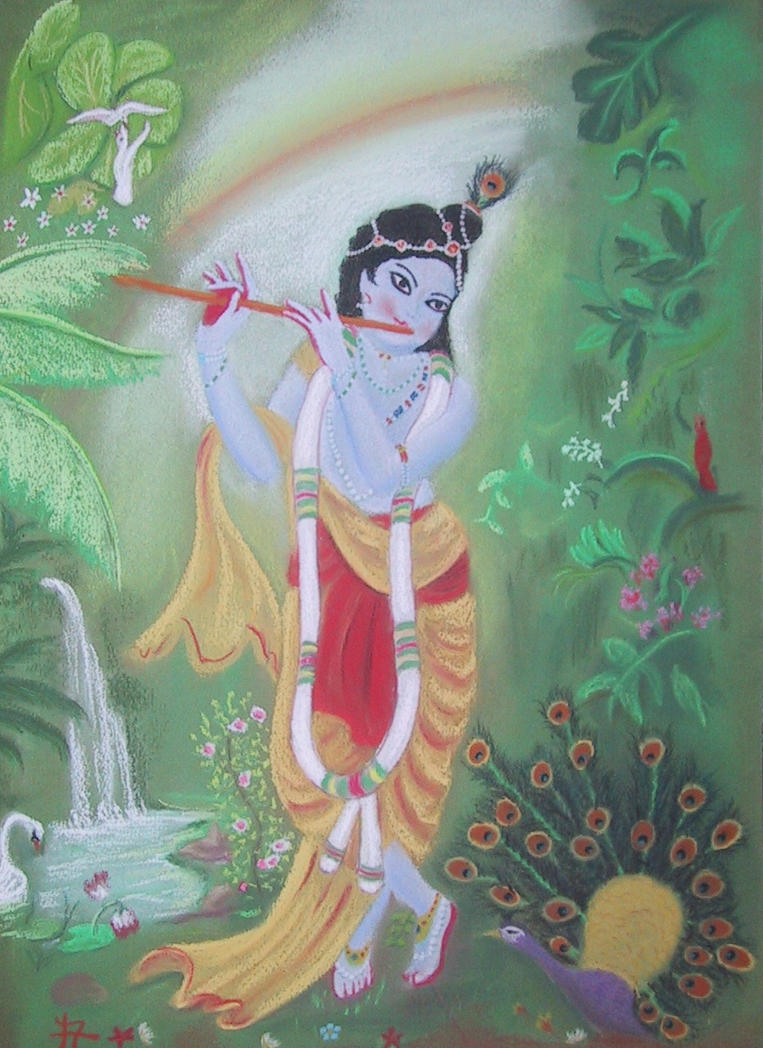 Krishna playing flute by drianis on DeviantArt