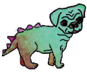 Pixelated Pugosaur by bunniesfortea