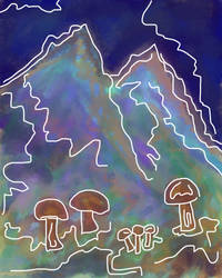 Mushrooms and Mountains by bunniesfortea