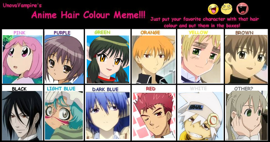Anime Hair Color Meme By Candycraver123