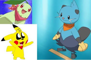 Chikorita dewott and Colin the Pikachu red scarf