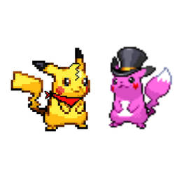 Colin the Pikachu red scarf and Melo the Pikachu