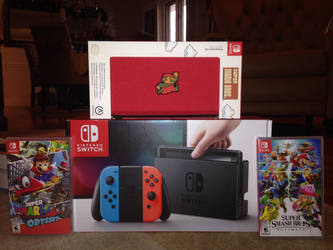 My Nintendo switch with blue and red paddles