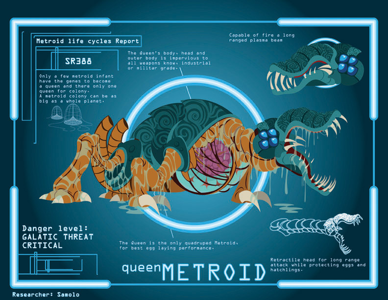 Metroid Cycle: Queen Metroid by Samolo