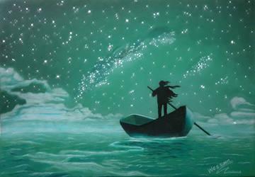 man rowing a boat under sky by WessamADEN
