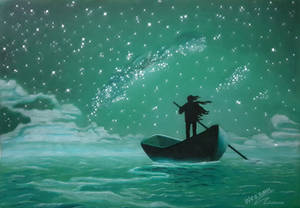 man rowing a boat under sky