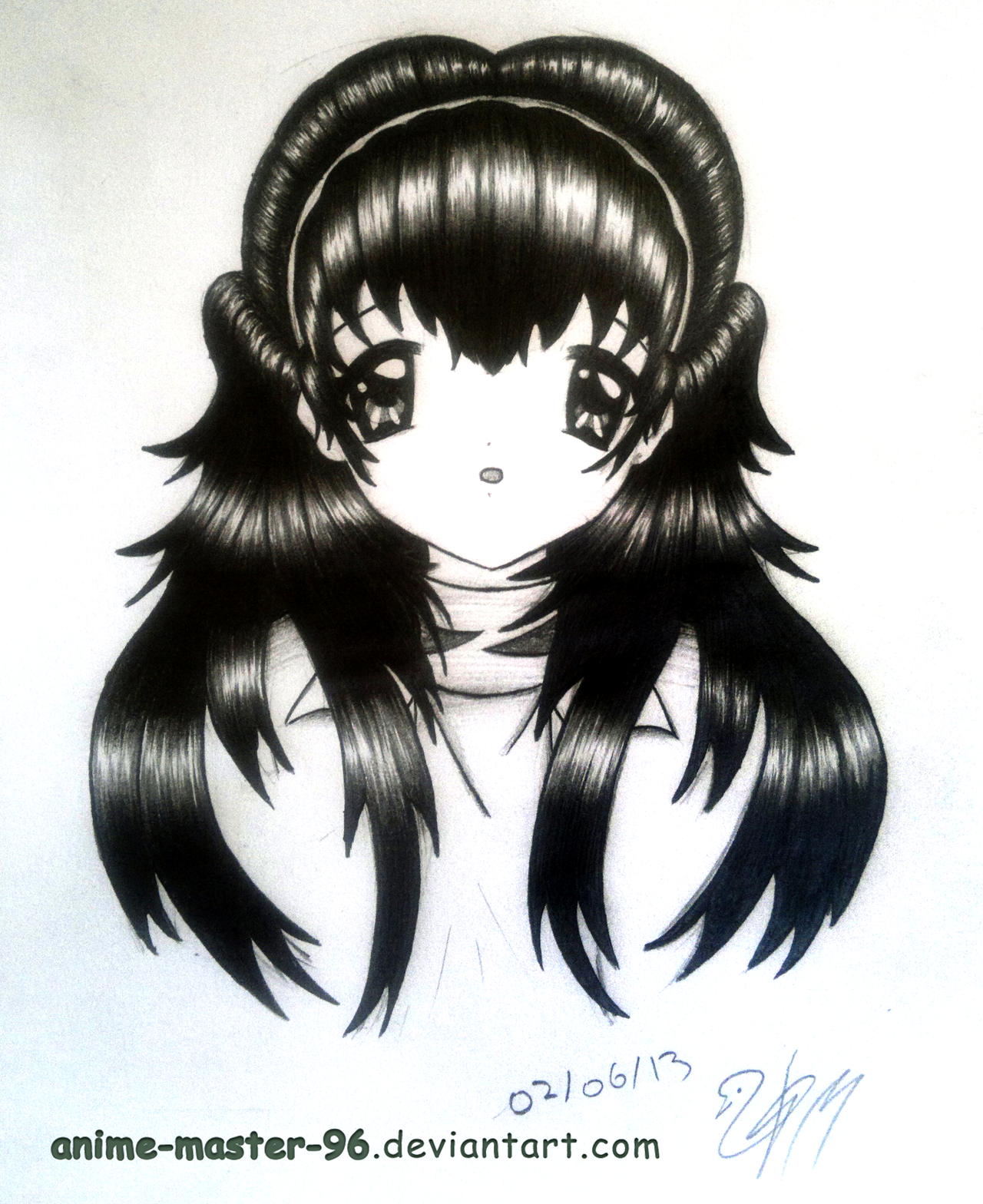 Hair Study From The Imagination 2 Front View By Anime Master 96