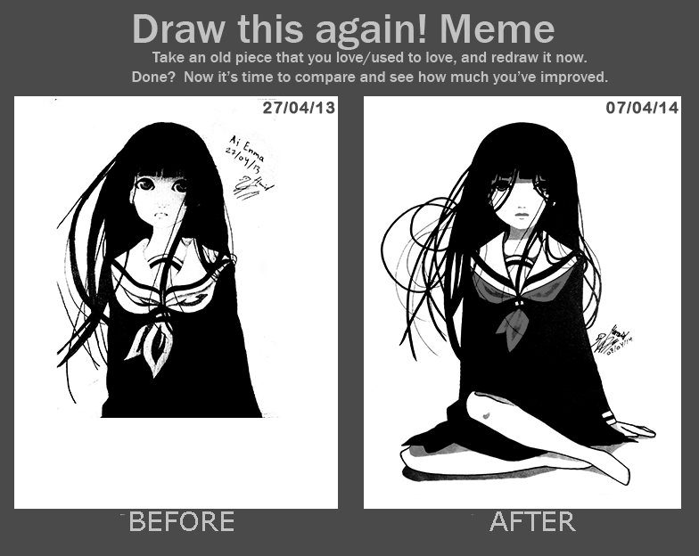 Redraw of first anime drawing 27/04/14 -- 07/04/14 by anime-master-96