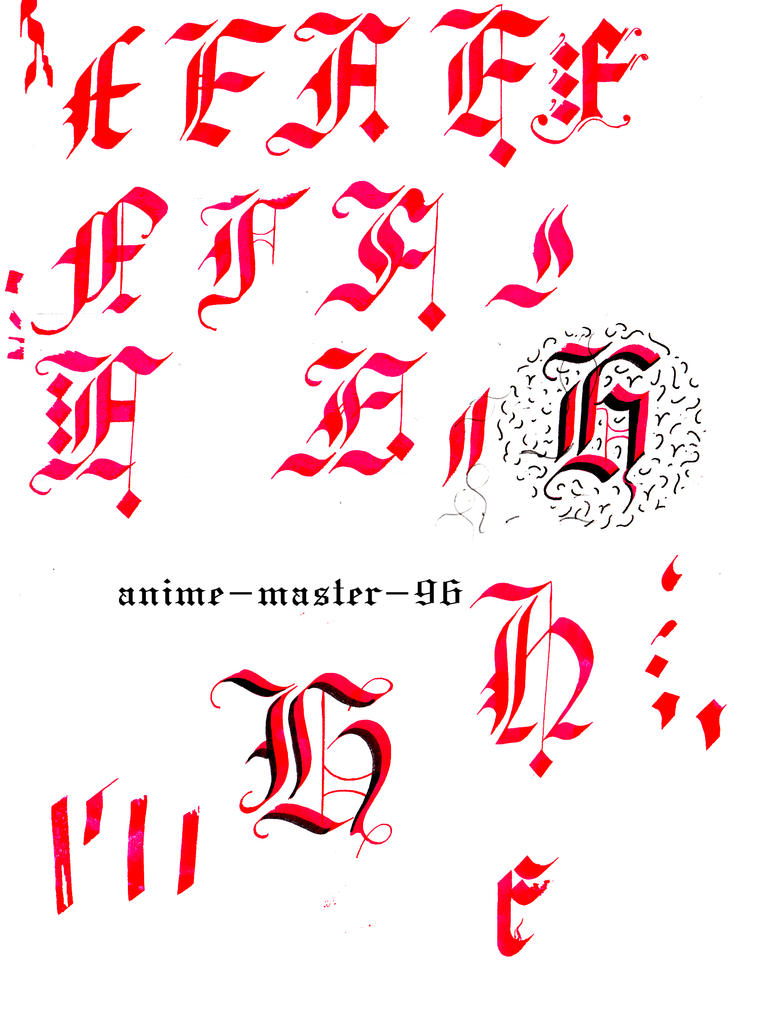 English Calligraphy Practice 2 Gothic Capitals F H By Anime Master 96
