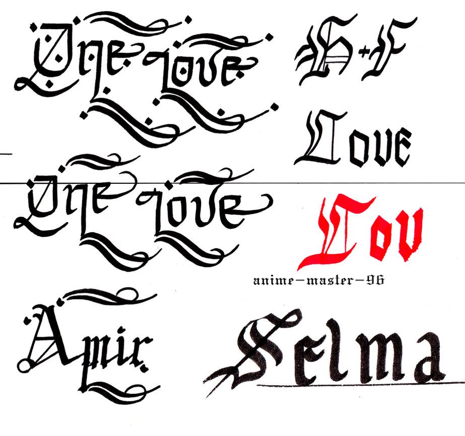 English Calligraphy Practice 1 Gothic By Anime Master 96