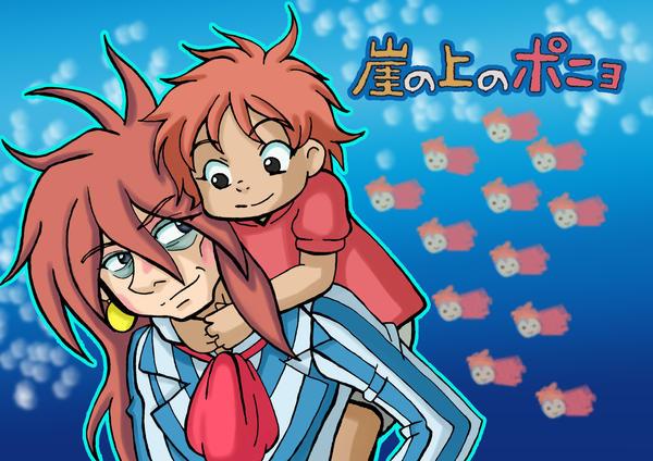 Ponyo and Fujimoto by Psy-CHO-Aoi