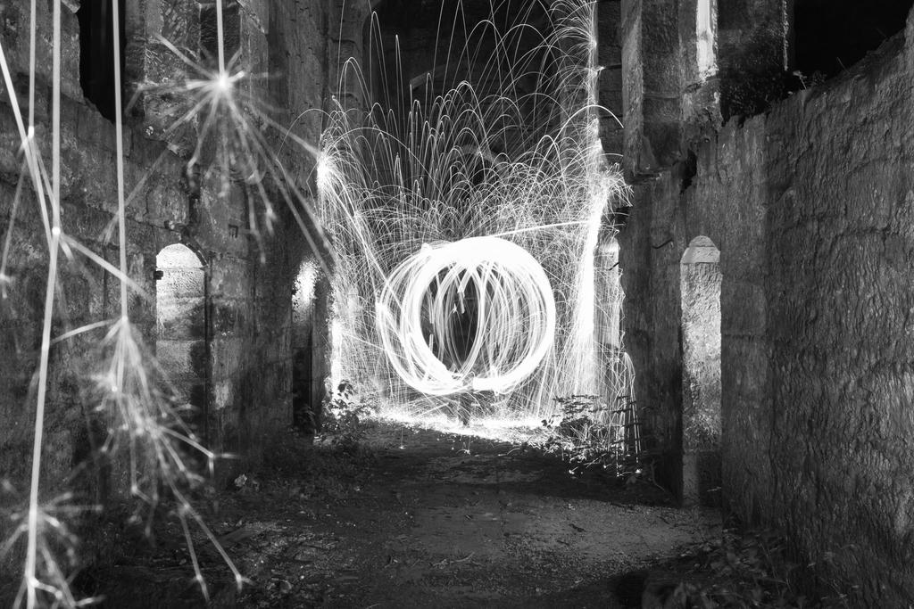 Fire Spinning in B/W by BusterBrownBB