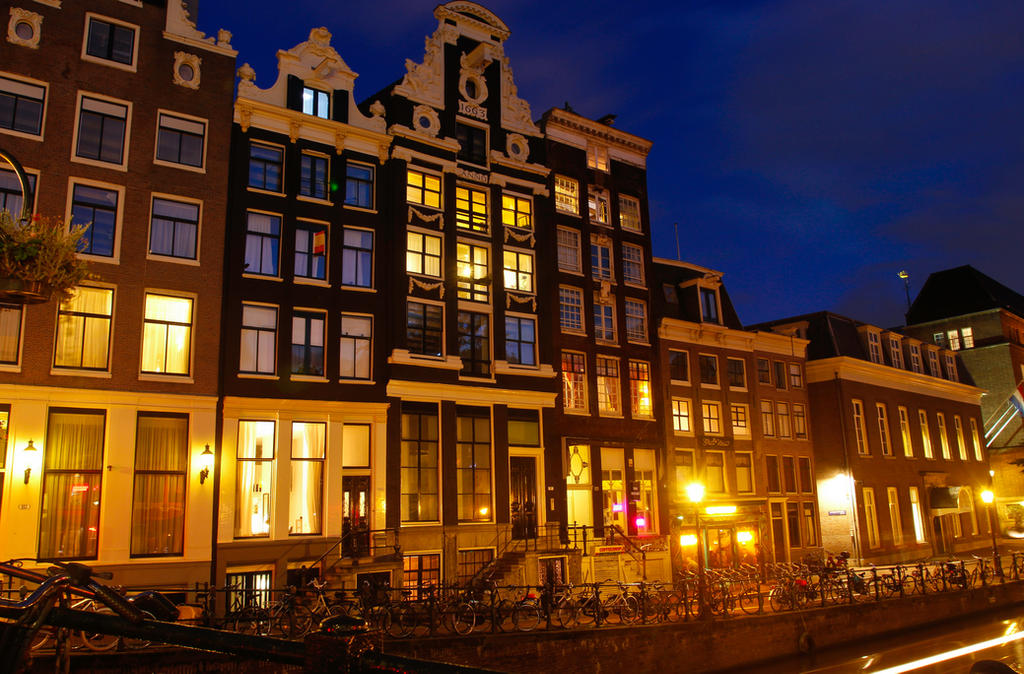 Amsterdam Canal Houses At Night by BusterBrownBB