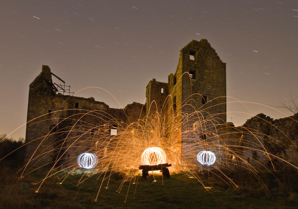 Wire Wool fire spinning at Torwood Castle by BusterBrownBB