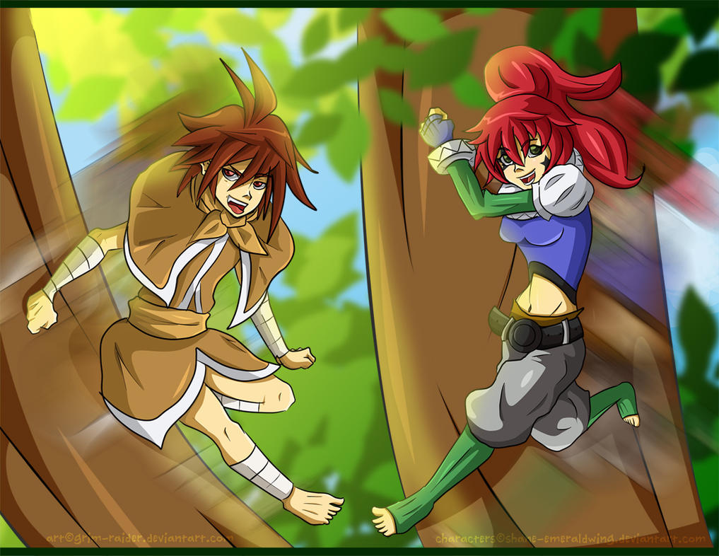 Leap Toward Adventure: Moglyn and Laura -Art Trade by Grim-Raider