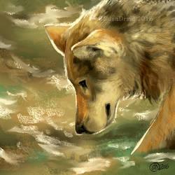 Water Wolf - SpeedPaint by GoldenDruid