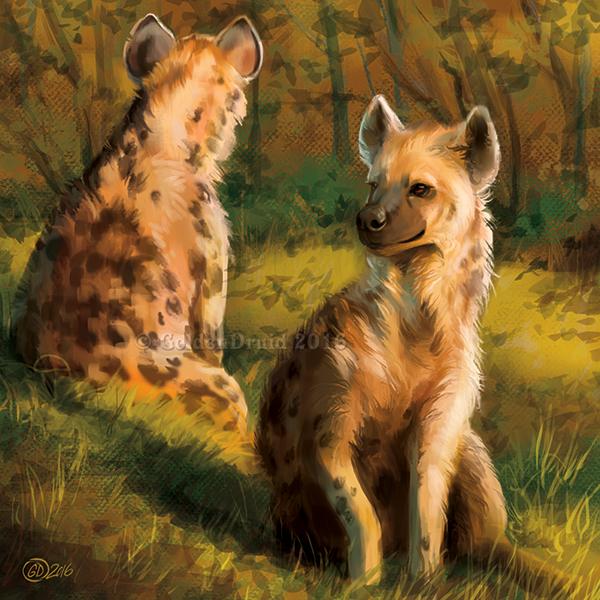 Hyena Couple - SpeedPaint by GoldenDruid