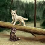 Wolf Pups - SpeedPaint by GoldenDruid