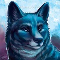 Blue Wolf Portrait - SpeedPaint by GoldenDruid