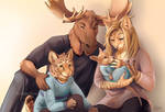 Moose Family Portrait - Art by the Hour