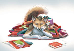 Beholden to Books - Art By The Hour by GoldenDruid