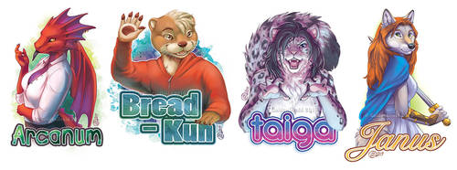Early 2019 Half Body Badges by GoldenDruid