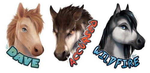 Three Horses - Polished Badges