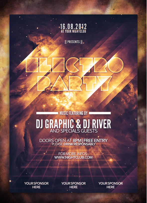 Electro Party Flyer by Arnographk
