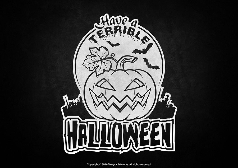 Terrible Halloween Sticker (Black and White) by TrexycaArtworks