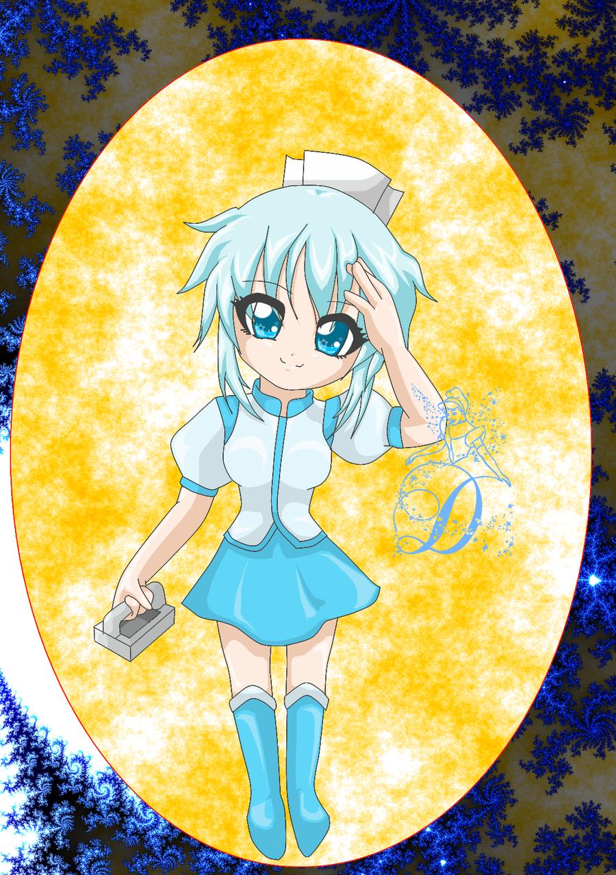 Blue chibi anime nurse by am a goth