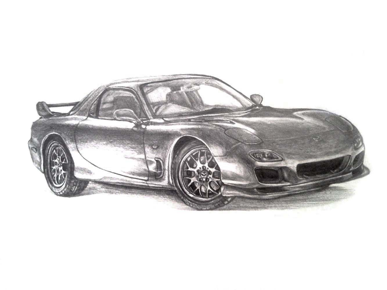 This is a photo of Accomplished Mazda Rx7 Drawing