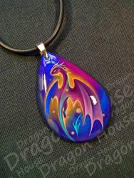 Handmade fiery dragon pendant by Tramp-Moon